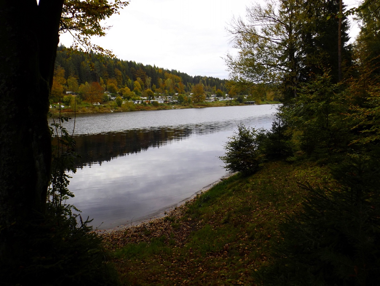 Großer Gaisweiher mit Spiegelung und Campingplatz